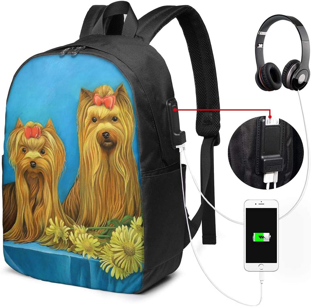Yorkshire Terrier Teacup Long Hair Girl Personality 17 Inch College School Computer Bag Laptop Backpack with USB Charging Port for Women Men College Student Travel Outdoor Camping Daypack