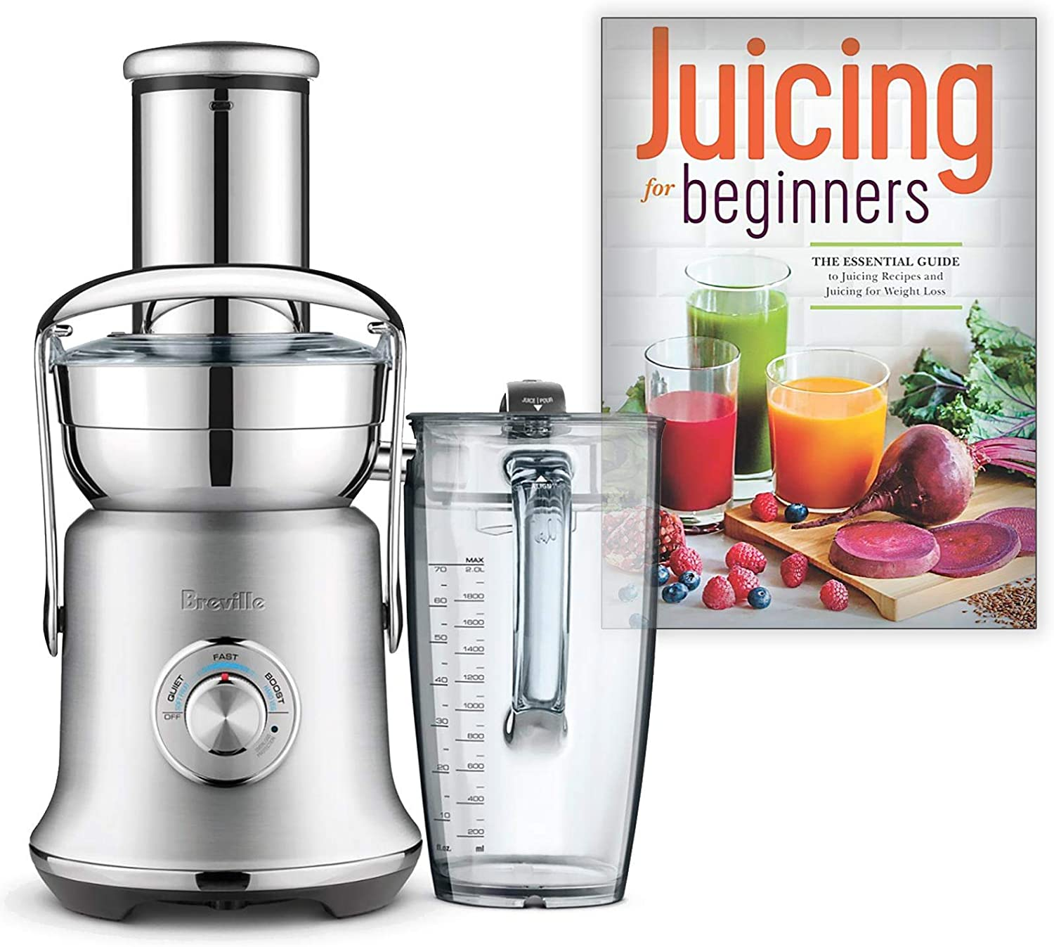Breville BJE830BSS1BUS1 Juice Founatin Cold XL Centrifugal Juicer Bundle with Juicing for Beginners: The Essential Guide to Juicing Recipes and Juicing for Weight Loss - Brushed Stainless Steel