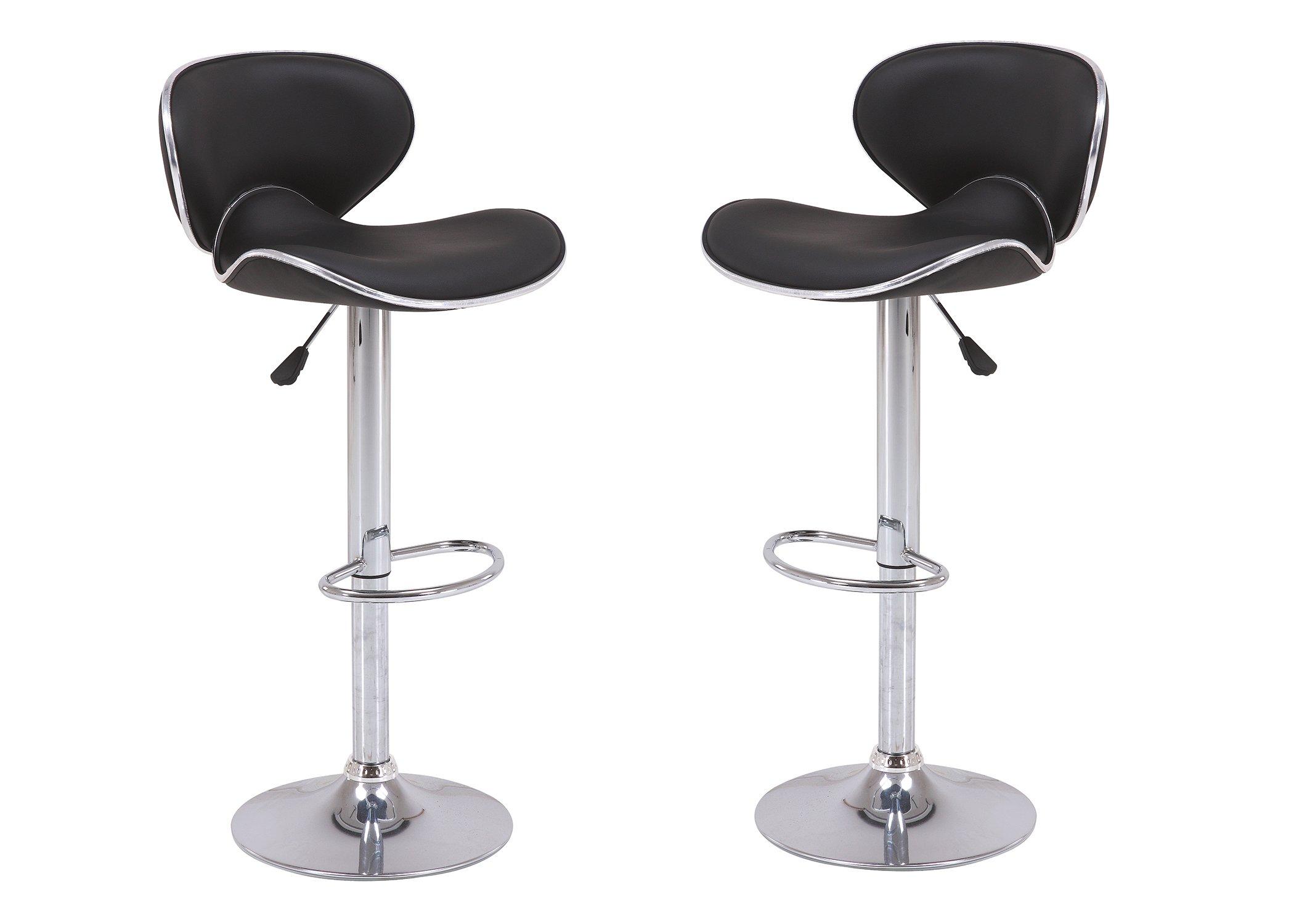 Vogue Furniture Direct Adjustable Height Swivel Barstools with Footrest, Black (Set of 2) VF1581046-2