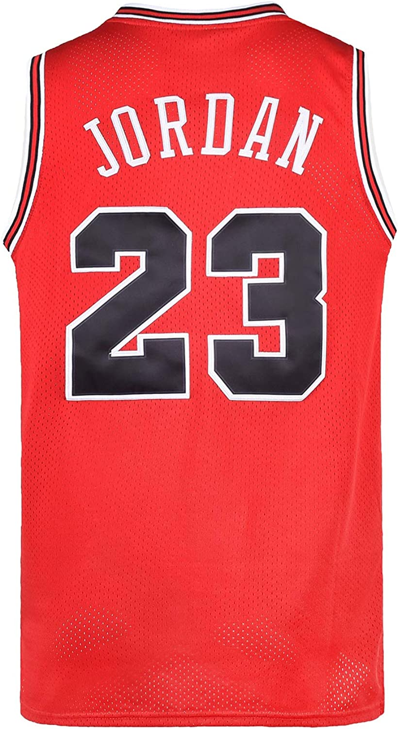 OKnown Mens 23# Space Retro Jersey Basketball Jersey White/Black/Red S-3XL