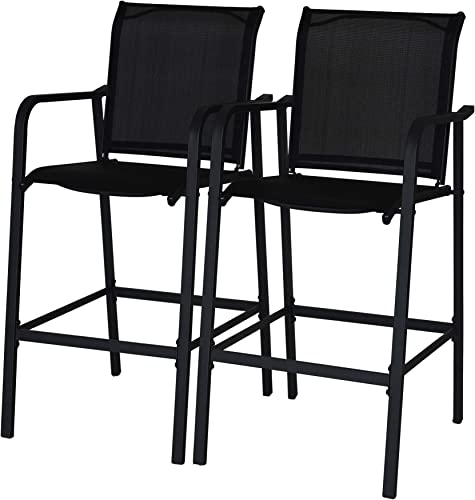 Sundale Outdoor Counter Height Bar Stool All Weather Patio Furniture with Quick-Dry Textilene Fabric, 2 PCS Set Black