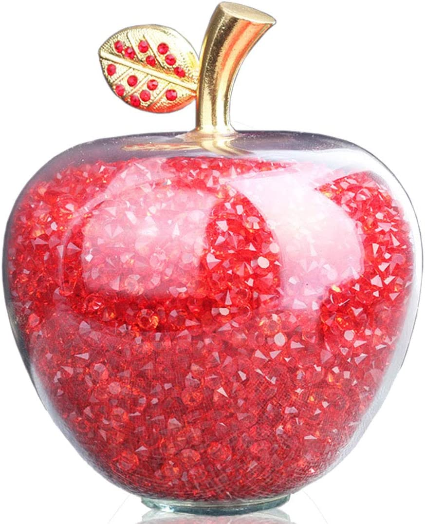 H&D HYALINE & DORA Red Crystal Glass Apple Figurine Paperweight with Filling Rhinestones for Home Decor Christmas Decoration