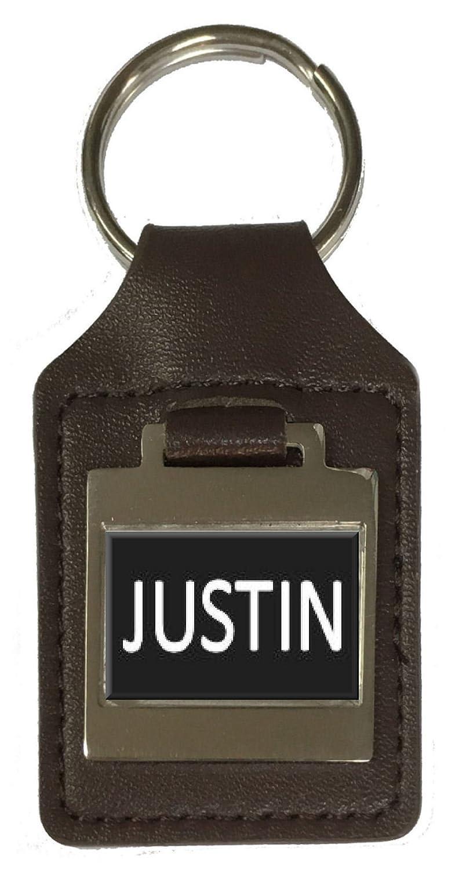 Justin Leather Keyring Birthday Name Optional Engraving