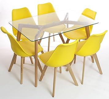 Charles Jacobs Esstisch mit sechs Gelb Set Stühle Massivholz Beine ...
