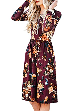 ZESICA Women s Long Sleeve Floral Pockets Casual Swing Pleated T-shirt Dress  347db59b5