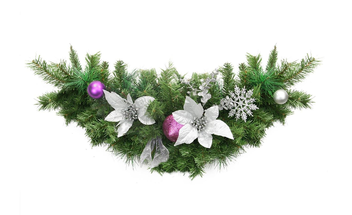 Northlight 30'' Pre-Decorated Silver Poinsettia, Eucalyptus and Purple Ornament Artificial Christmas Swag - Unlit