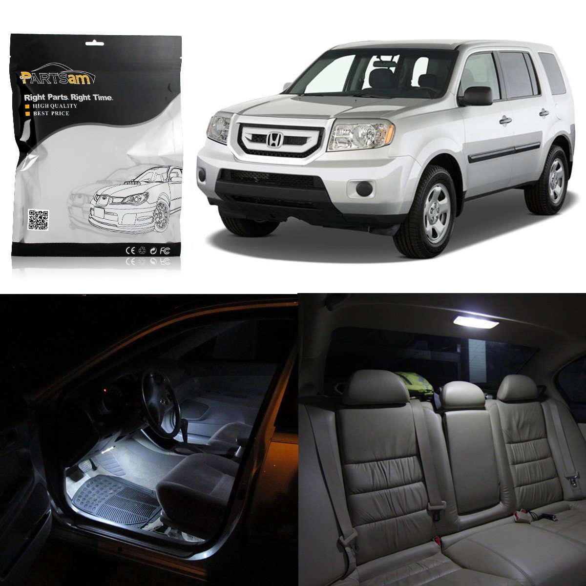 Partsam LED Interior Package Light Kits + License Plate Light Compatible  with Honda Pilot 2009 2010 2011 2012 2013 2014 2015-17Pcs/White