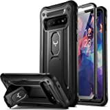 YOUMAKER Kickstand Case for Galaxy S10 Plus, Built-in Screen Protector Work with Fingerprint ID Full Body Heavy Duty Protecti