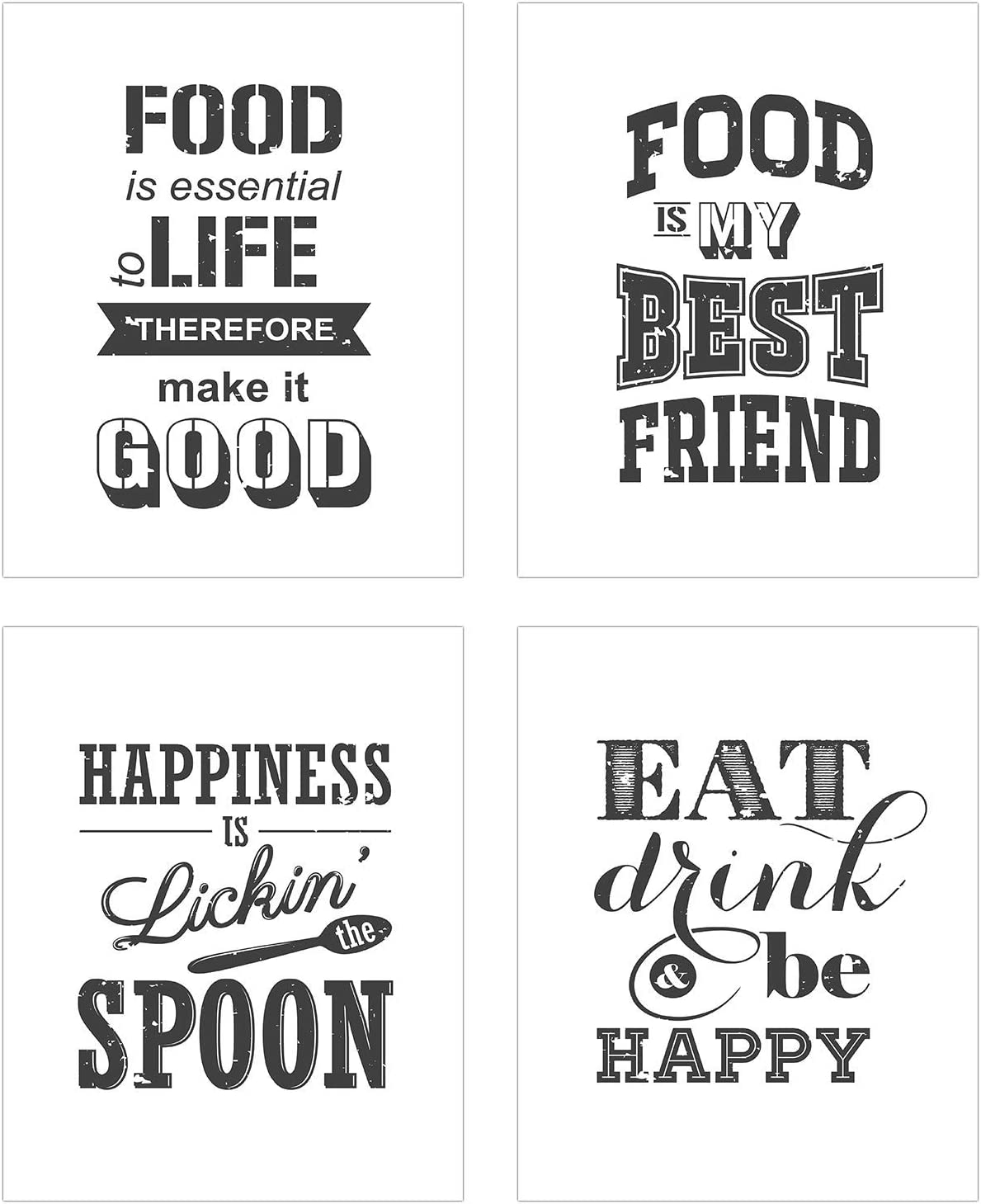 TnT Prints  Funny Kitchen Wall Art and Sayings  Set Of 7 (7x7