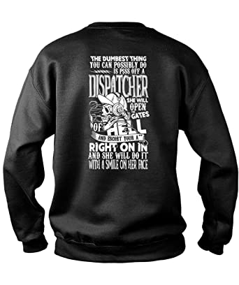 f814d2067d Amazon.com: Dispatcher She Will Open The Gates Sweatshirts, A Smile On Her  Face T Shirt: Clothing