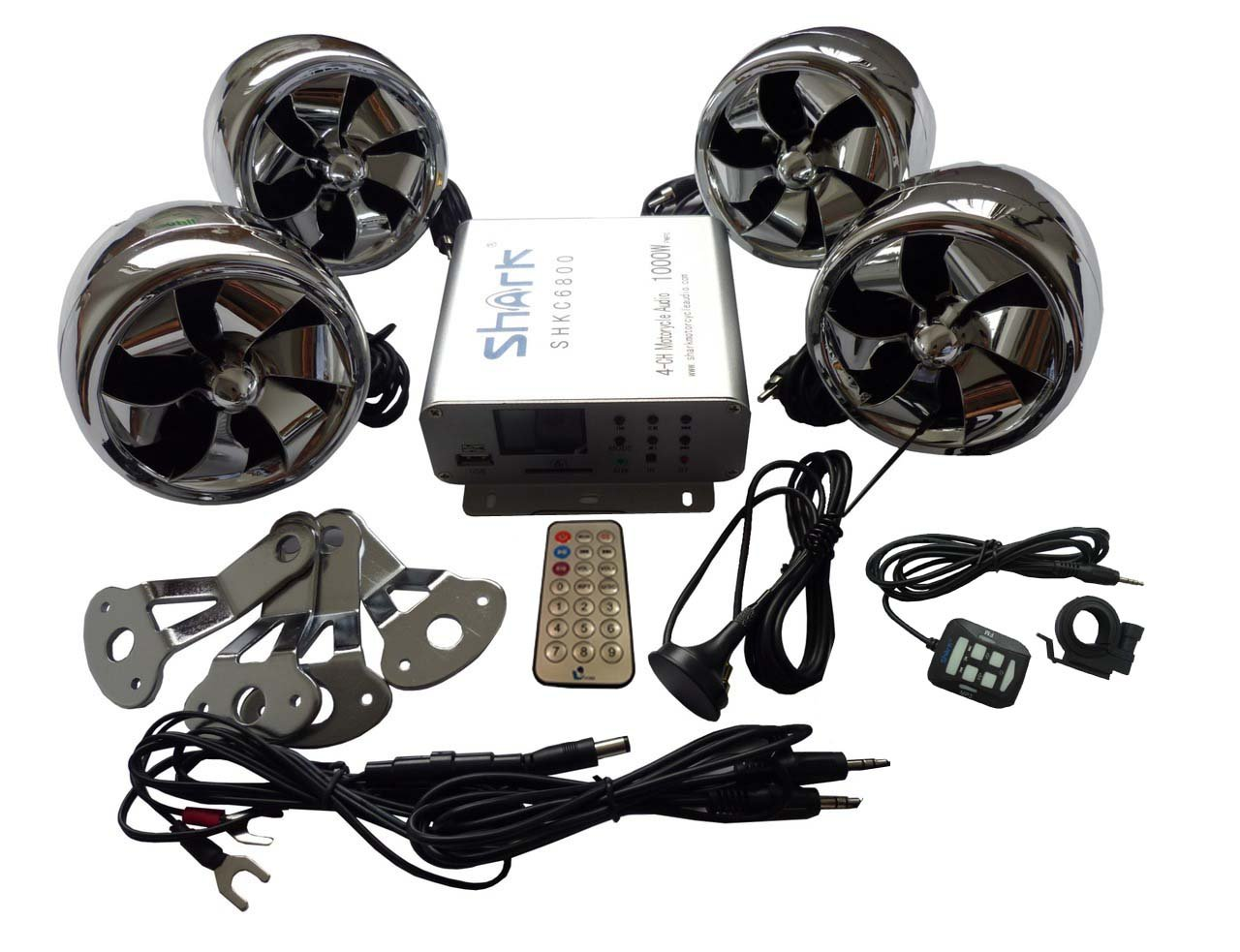 Shkc6800 Chrome 1000 Watt 4 Ch Motorcycle Audio System w/ 2 Remotes, Fm, Sd, Usb , Bluetooth for All Motorcycle, Atvs, Boats