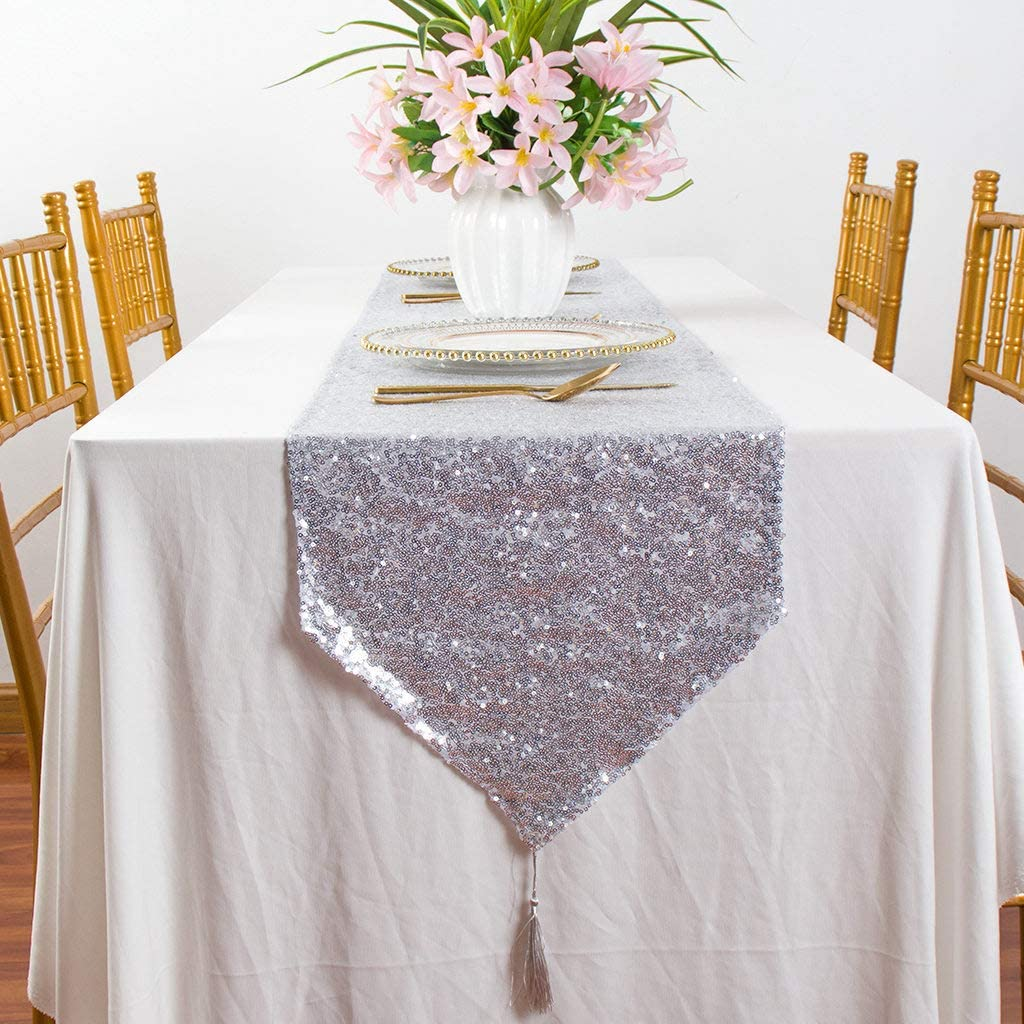 """Table Runner with Tassels 12""""x72"""" Sequin Table Runner with Tassels Home Dining Table Decor Wedding Table Runner Linen Table Runners with Tassels for Party Sweet 16 Party Supplies (12""""x72"""", Silver)"""