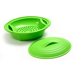 Norpro 180 Silicone Steamer with Insert, Green, Medium
