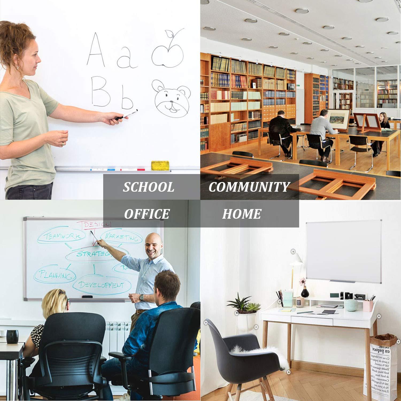 60X45cm S SWANCROWN Whiteboard Pinnwand und Magnettafeln mit Alurahmen f/ür Schule Wohnung und B/üro
