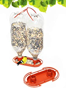 Gadjit Soda Bottle Jumbo Wild Bird Feeder Kits   Fun Inexpensive Project for Kids at Home   Fill Two 2-Liter Plastic Soda Bottles with Bird Seed, Twist onto Feeder Tray, Hang Outdoors (Terra Cotta)
