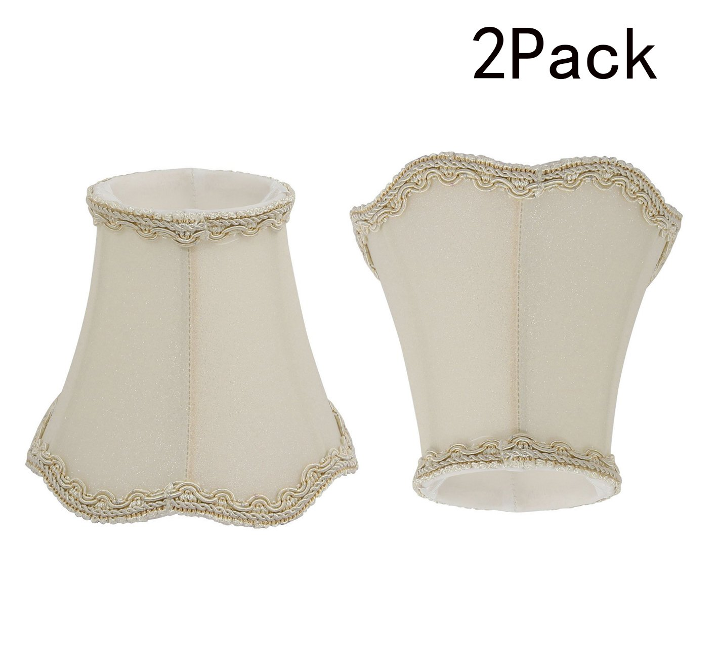 Yohii Fabric Lamp Shades for Chandeliers, Sconces, Window Candles,Candelabra Bulbs (Beige)