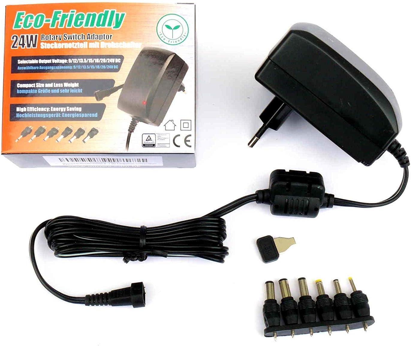 Fuente de alimentación conmutada universal, 9 V, 12 V, 13,5 V, 15 V, 18 V, 20 V, 24 V CC, 1500 mA (máx.) EuP, enchufe MW 3G15GS, no se puede utilizar como cargador