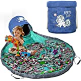 Play Mat and Toy Storage Organizer, Outdoor Toy Canvas Storage Basket, Large Drawstring Portable Collapsible Container Storag