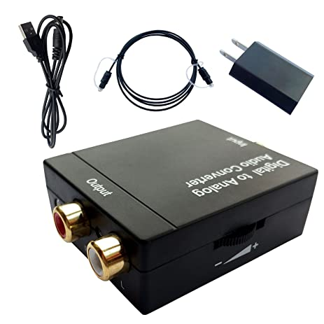 Easyday VOL Digital Optical Coaxial Toslink Signal to Analog Audio SPDIF Converter Adapter