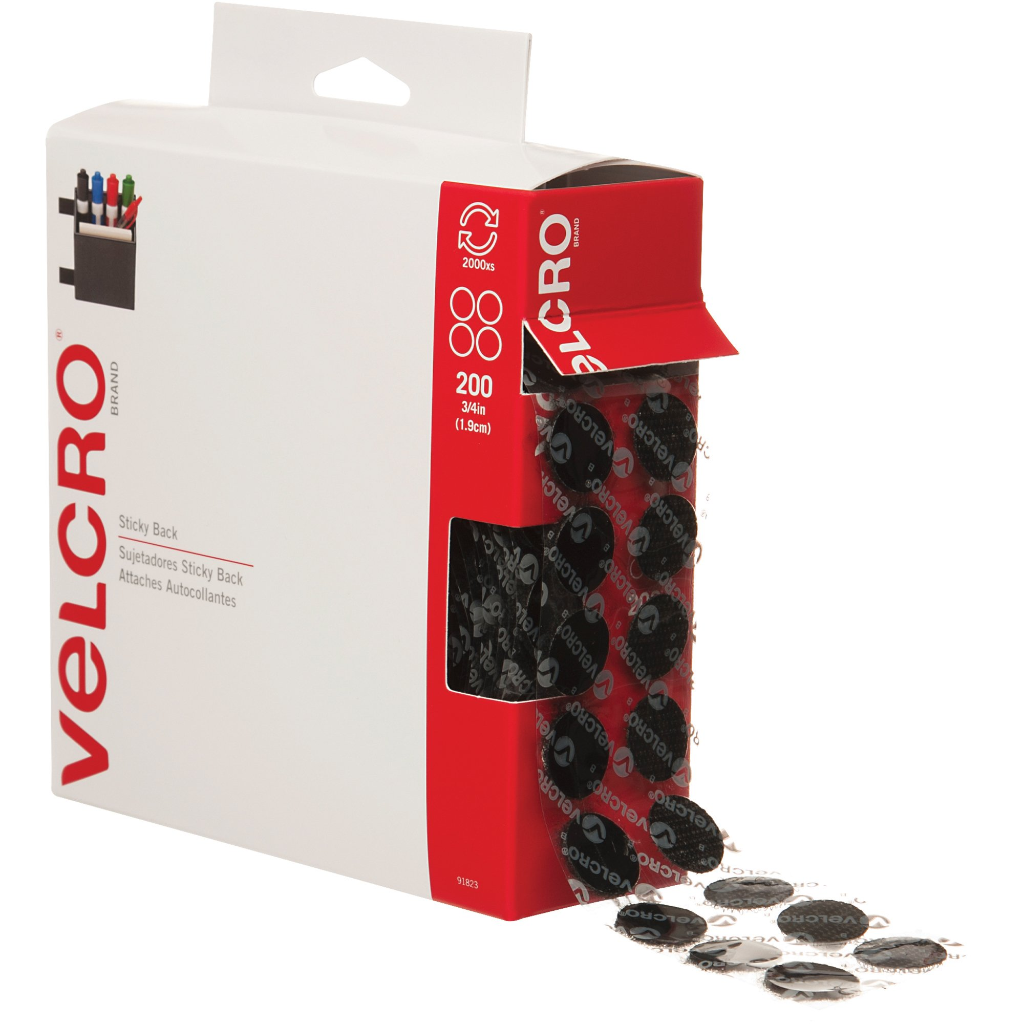 Velcro VEL152 Hook and Loop Dot Tape Combo Pack, 3/4'' Diameter, Black (Case of 200)