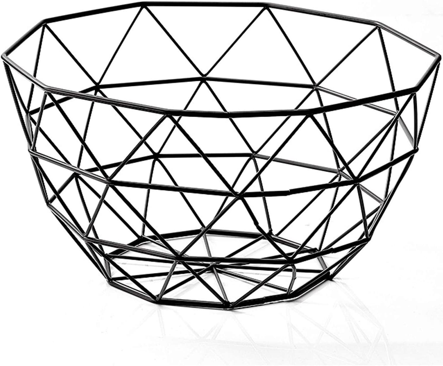 Wire Fruit Basket, Creative Mesh Fruit Dish Basket Bowl, Round Black Large Metal Storage Baskets, Modern Style Container Centerpiece for Vegetables, Bread, Snacks, Potpourris (Black, Large)