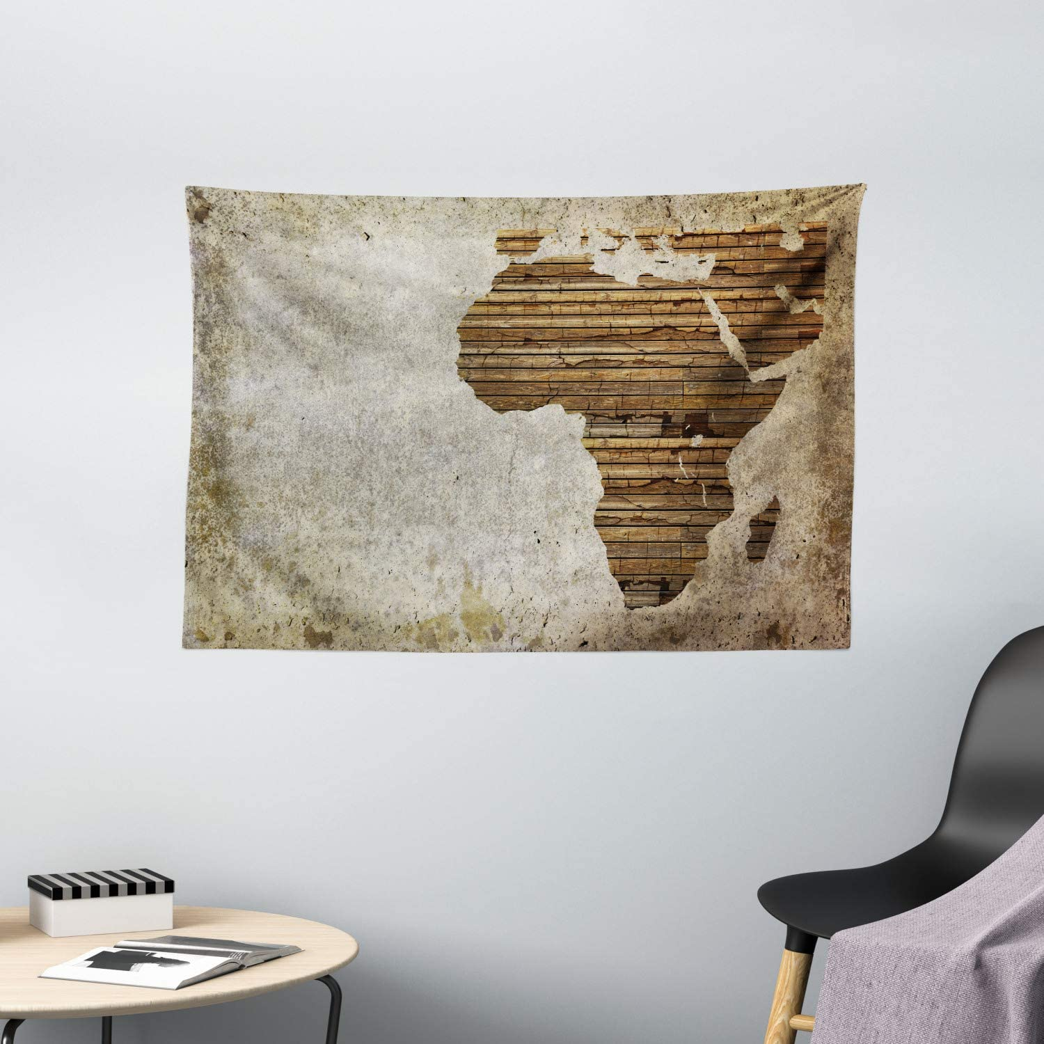"Ambesonne African Tapestry, Geography Theme Grunge Vintage Wooden Plank and Map Digital Print, Wide Wall Hanging for Bedroom Living Room Dorm, 60"" X 40"", Tan Umber"