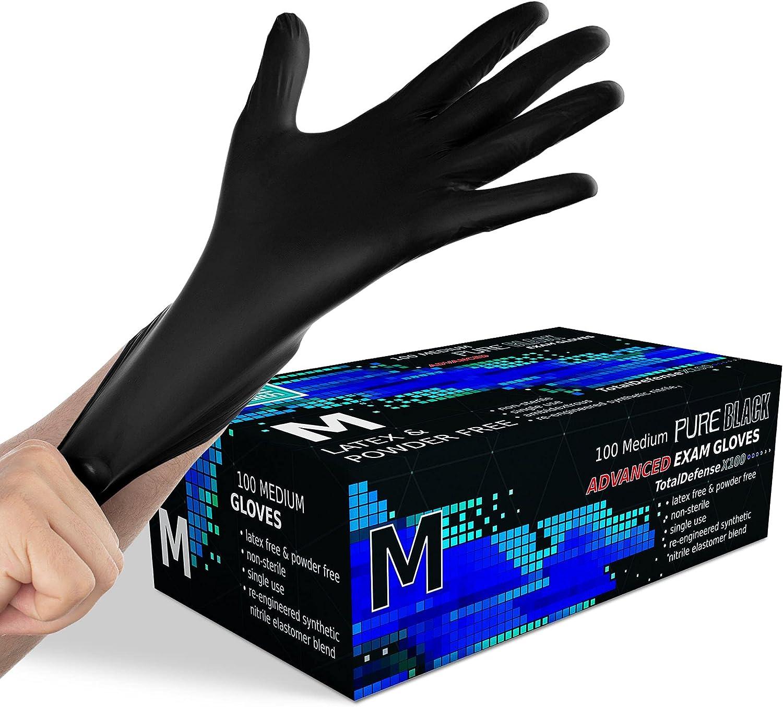 Synthetic Nitrile Black Disposable Gloves Medium -100 PK No Latex Medical Gloves