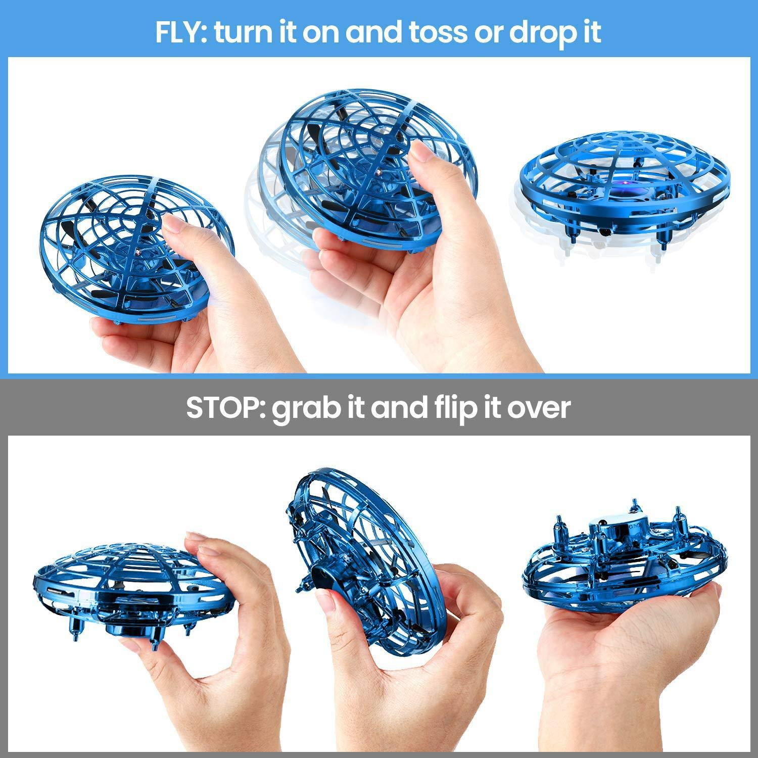 Bix Flying Toys Drone, Hand-Operated Flying Ball, Interactive Infrared Induction Helicopter Ball 360° Rotating Shinning LED Lights, Flying Toy Boys Girls Kids Holiday Birthday Gifts by Bix (Image #3)
