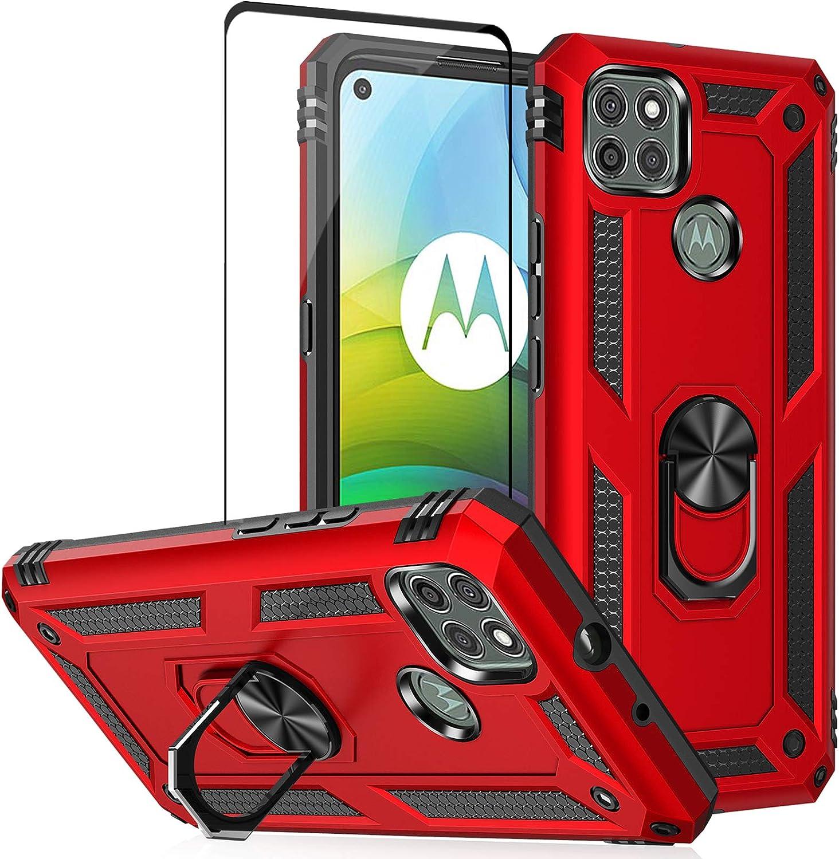 Funda para Moto G9 Power con protector de pantalla-Roja