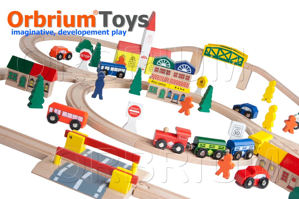 100-Piece Orbrium Toys Triple-Loop Wooden Train Set