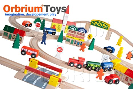 Amazon.com: 100-Piece Orbrium Toys Triple-Loop Wooden Train Set Fits ...
