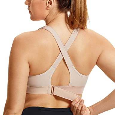 82bd7db2b536b SYROKAN Women s Front Adjustable Wirefree High Impact Full Support Plus  Size Sports Bra Beige 34D