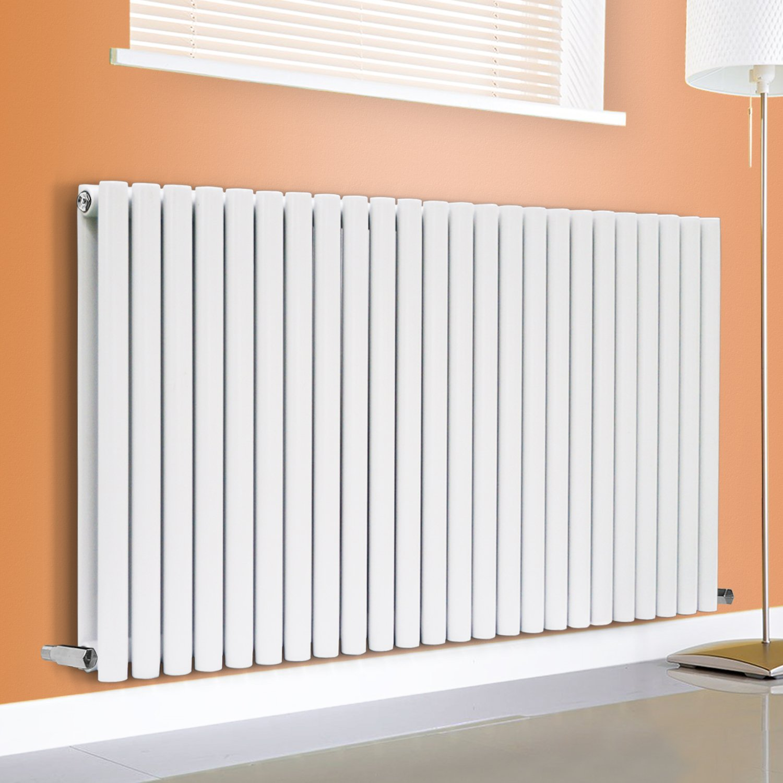 NRG White 600x1593 Horizontal Oval Column Single Panel Designer Radiator Bathroom Central Heating