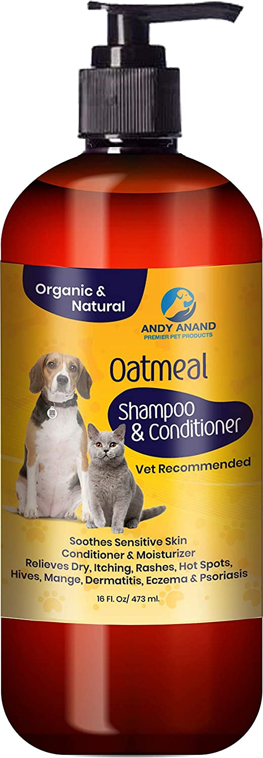 Andy Anand's Natural Hemp with Oatmeal l Dog Shampoo + Conditioner in One for Regular Skin l Great for Dogs and Cats-Hypoallergenic and Soap Free with Aloe for Allergies (16 fl. oz.) Hyra Holdings Inc.