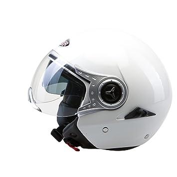 Viper RSV18 Casco Jet Motocicleta Bicicleta Cascos Abiertos de Moto con Doble Visera Blanco M(