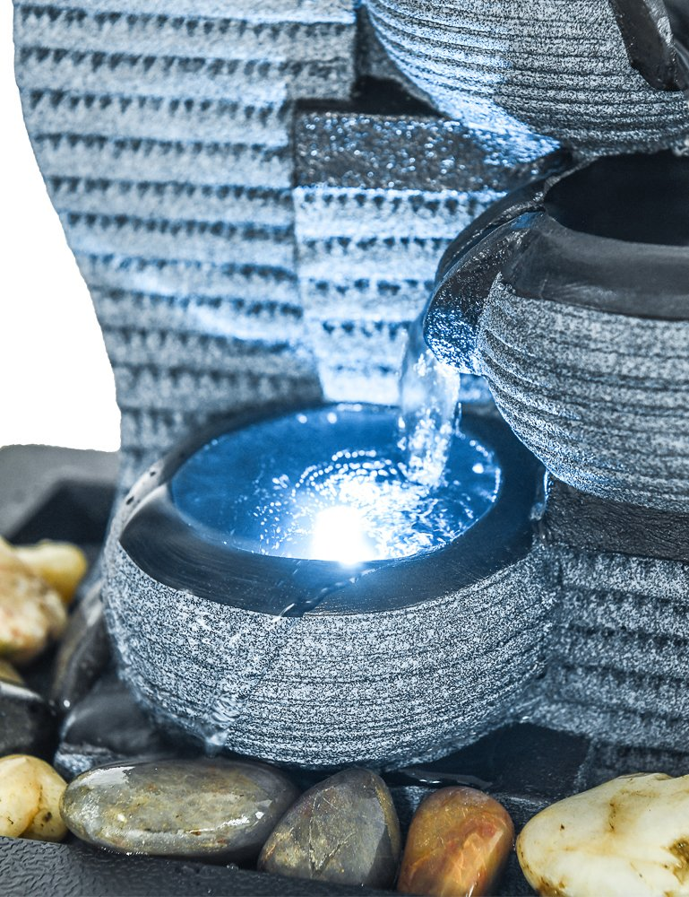 SunJet 4-Tier Desktop Water Fountain Submersible Pump Indoor Decoration 10 H-Right Portable Tabletop Decorative Waterfall Kit Zen Meditation Ambient Office Home Soothing Relaxation