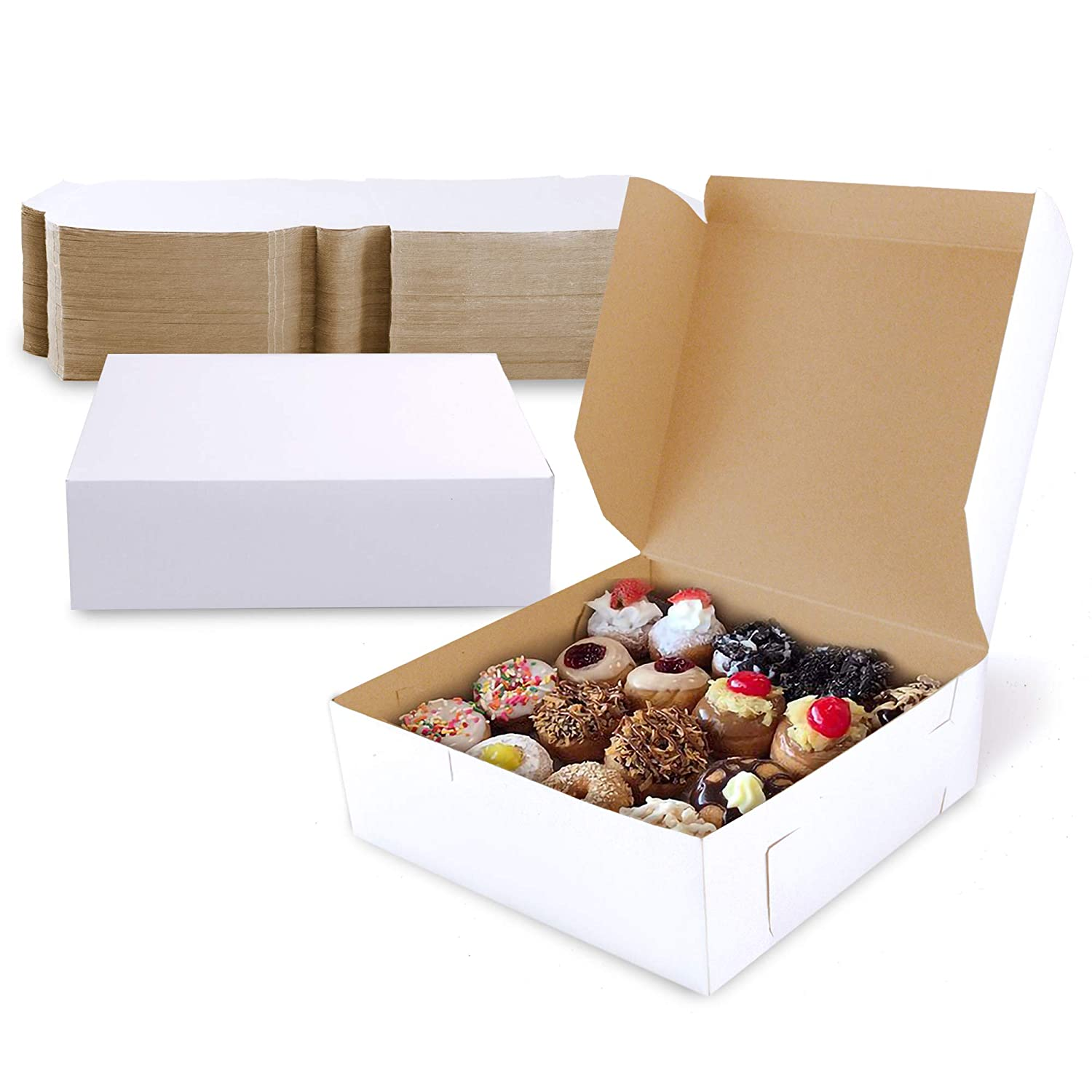 [25 Pack] Pastry Boxes - 9 x 9 x 2.5 Inch White Bakery Box for Cookies, Compostable Kraft Paper Cardboard for Baked Goods Packaging, Cake, Food Treat, Donut, Cupcake, Candy, Bread, Bridesmaid Gift Box
