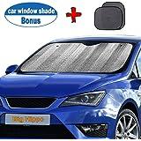"Big Hippo Windshield Sun Shade, Car Window Shade as Bonus by Keep Vehicle Cool Protect Your Car from Sun Heat & Glare Best UV Ray Visor Protector (Size: 55.16""X 27.5"")"