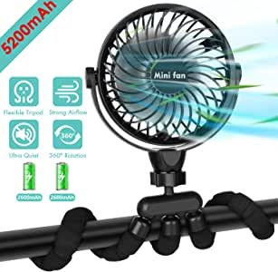 Portable Handheld Fan, 5200mAh Battery Powered Clip-on Personal Desk Baby Fan Air Circulator Fan with Flexible Tripod, Ultra Quiet 4 Speed 360° Rotatable USB Fan for Stroller/Bike/Camping/BBQ/Gym