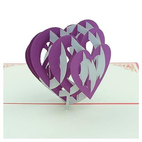 Amazon.com: Tarjeta 3D – Corazón cálido – Tarjeta de boda ...
