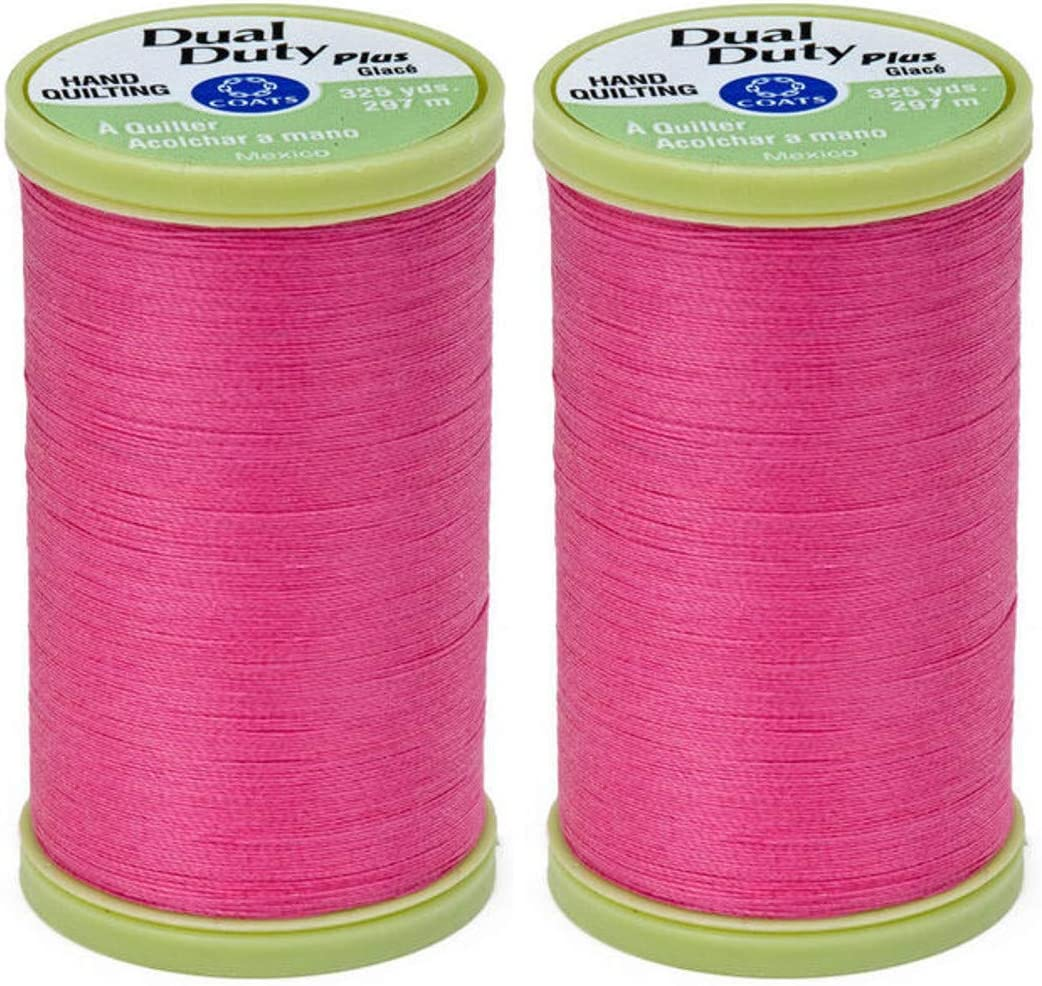 2-Pack Bundle Coats /& Clark Dual Duty Plus Hand Quilting Thread 325yds Pink s960-1210