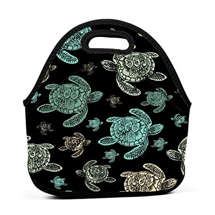 0e441ca76d03 Amazon.com - ONUPMIN Green Sea Turtles Heart Design Patterned Black ...