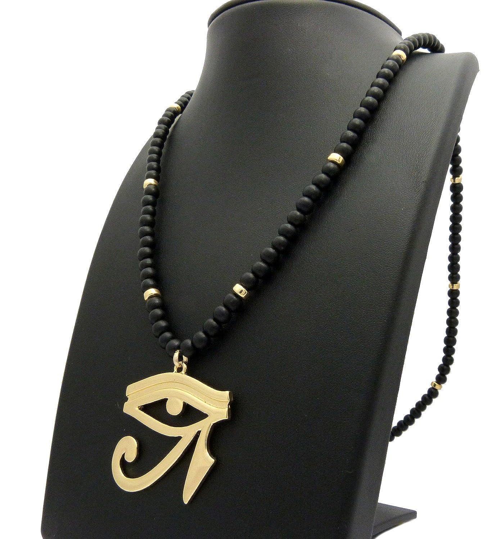 Egyptian Eye of Heru Pendant 6mm 30 Black Wooden Bead Necklace Gold Tone