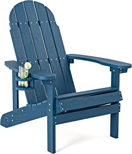 SERWALL Adirondack Chair with Cup Holder, Weather Resistant Lounge Chair Fade-Resistant Outdoor Chair for Fire Pit & Garden, Lawn Furniture Classic Adirondack Chairs Design- Blue