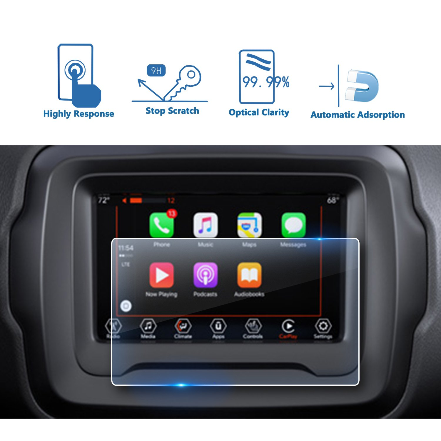 2018 Jeep Renegade 7 Inch Center Touch Screen Protector, LFOTPP Tempered Glass In-Dash Clear Screen Protector