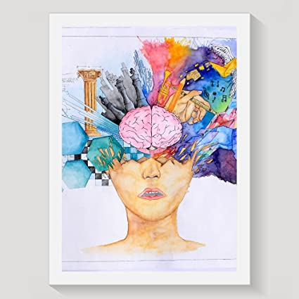 LEMON GIRL Color Creative Brain Framed Wall Art Prints 94 X 13inch Print Poster Office