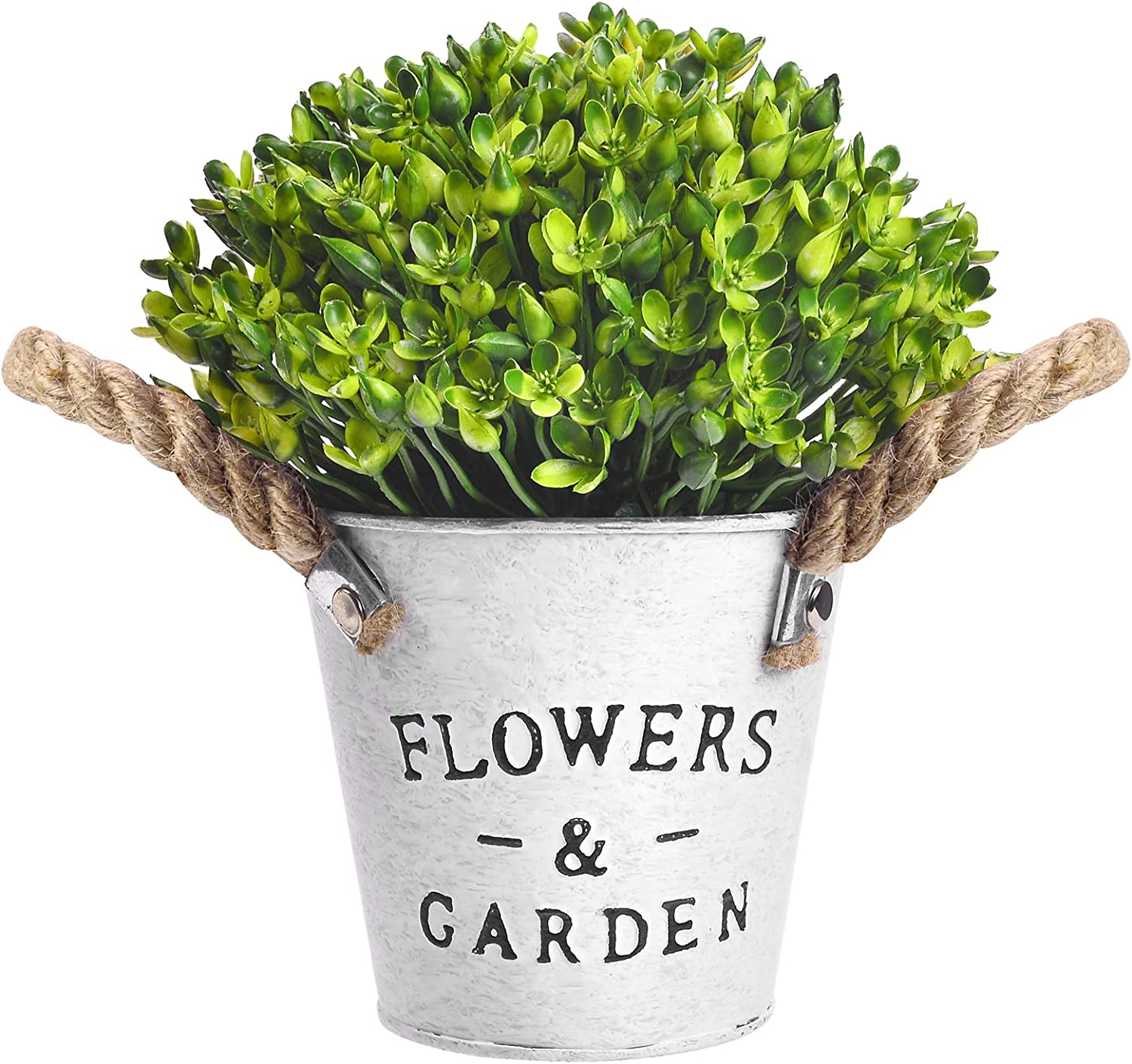 OUIVIAL Artificial Potted Plants - Fake Green Plants Medium Potted Plants Plastic Flower Plants with White Metal Basin for Home, Kitchen, Indoor Outdoor Decor. (Green Artificial Potted Plants)