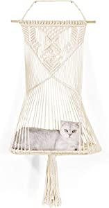 "LIFIS Macrame Cat Hammock Bed Decorative Macrame Wall Hanging Shelf Home Decoration for Storage 19.7"" W x 39"" L"