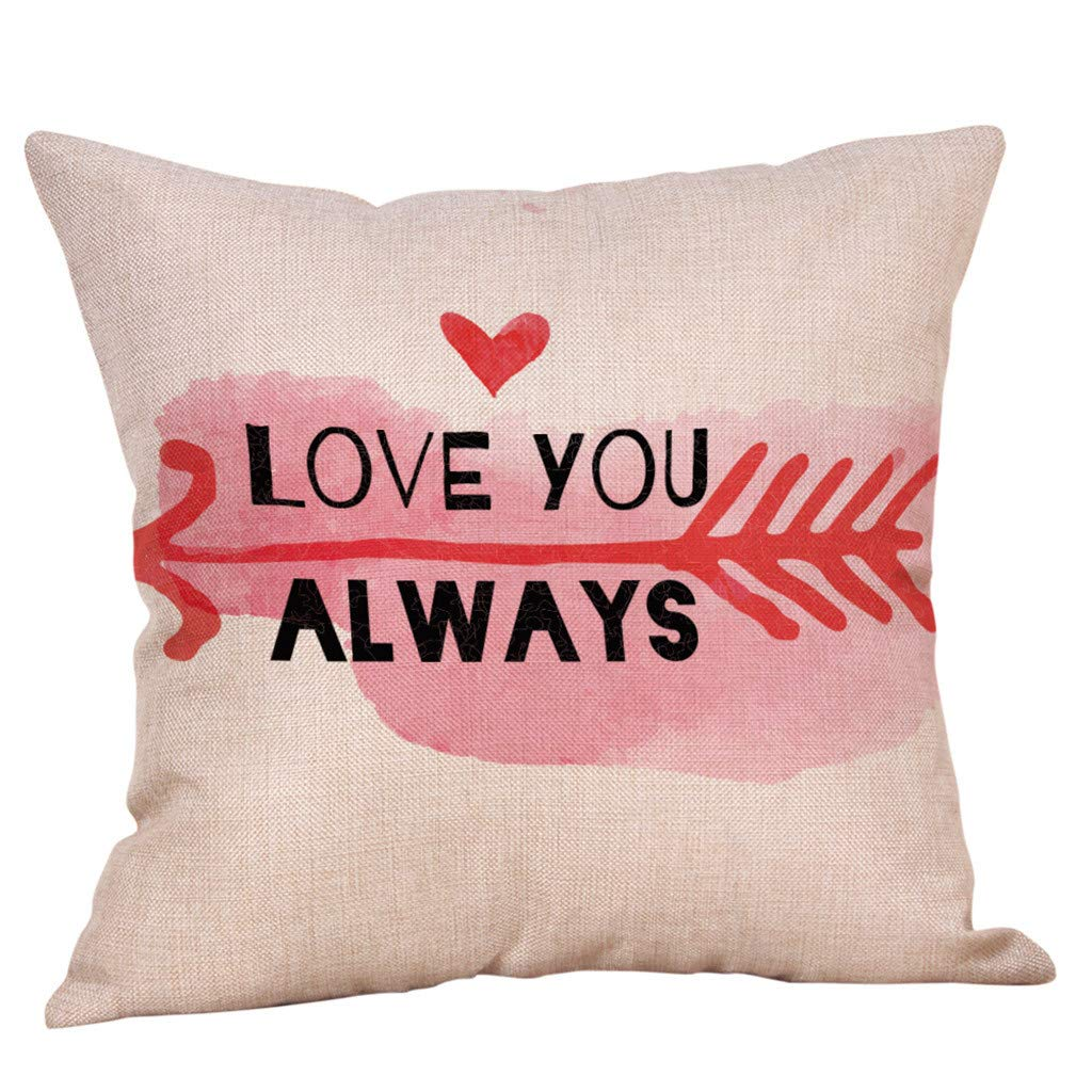 Valentine's Day Pillow Covers Valentine's Day Series Decorations Pillow Case Square Cotton Linen Throw Cushion Cover 18x18 inch for Home Decor Lover's Gift (C)