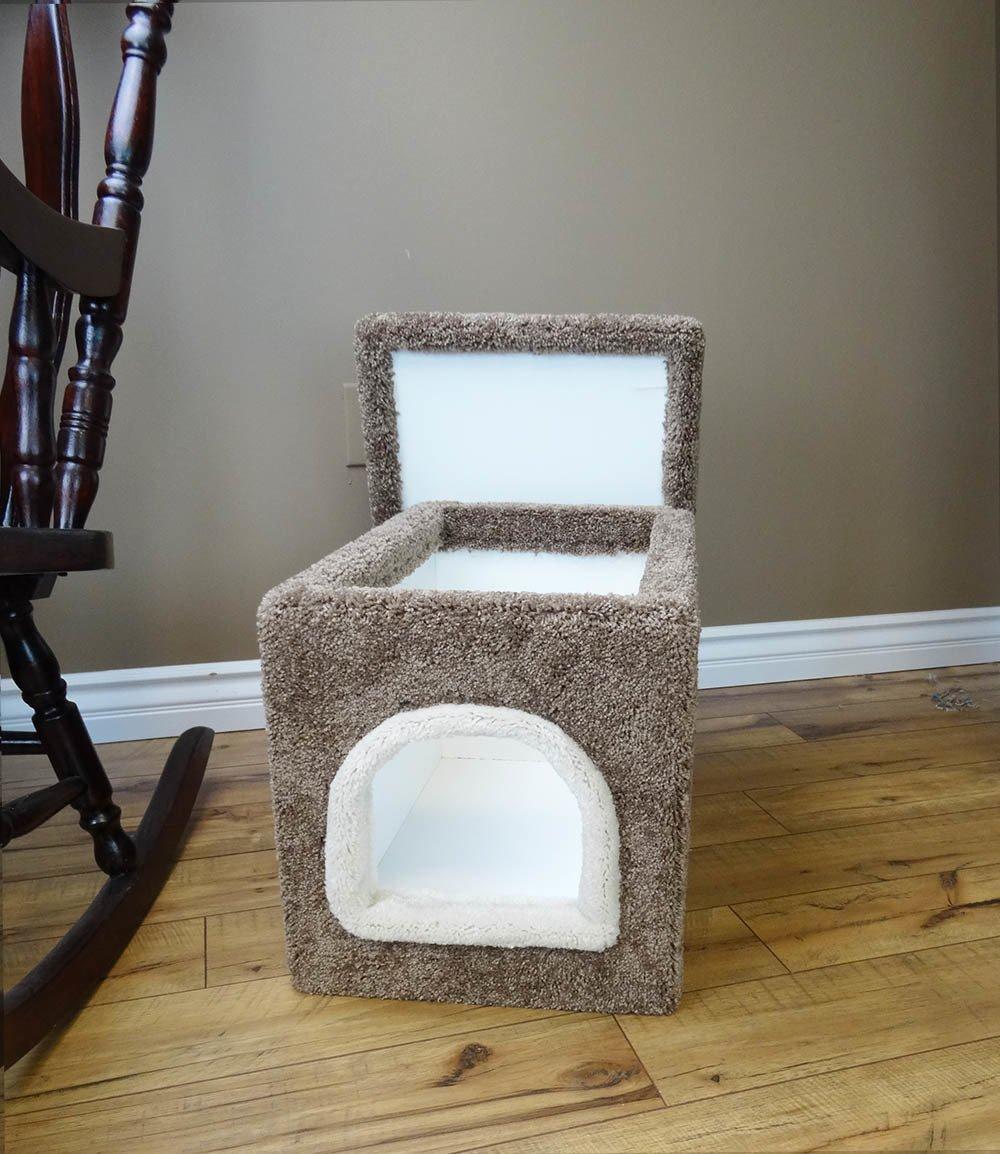 Wood Cat Litter Hideaway Small Cat Litter Enclosure, Brown Carpet